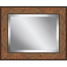 Rectangle Aged Framed Beveled Plate Glass Mirror