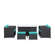 Reverse 9 Piece Outdoor Patio Dining Set with Cushions