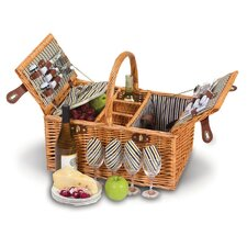 4 Person Picnic Basket with Removable Insulated Cooler