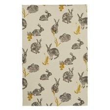Block Print Rabbits Tea Towel