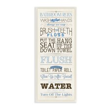Bathroom Rules Modern Skinny Rectangle Textual Art Wall Plaque