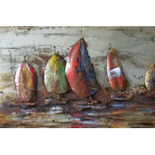"""""""The Regatta 1"""" Mixed Media Iron Hand Painted Dimensional Wall Décor"""