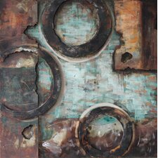 """""""Revolutions 2"""" Mixed Media Iron Hand Painted Dimensional Wall Décor"""