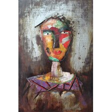 """""""Homme 2"""" Mixed Media Iron Hand Painted Dimensional Wall Décor"""