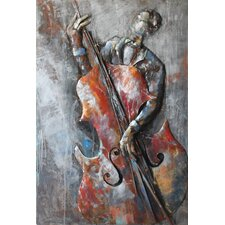 """""""The Bassist"""" Mixed Media Iron Hand Painted Dimensional Wall Décor"""