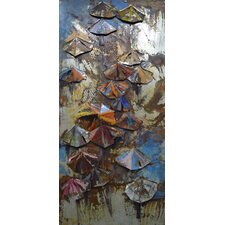 """""""Umbrellas"""" Mixed Media Iron Hand Painted Dimensional Wall Décor"""