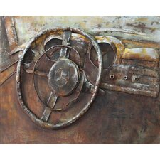 """""""Benz"""" Mixed Media Iron Hand Painted Dimensional Wall Décor"""