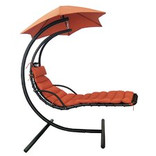 Island Retreat Polyester Hanging Chaise Lounger with Stand