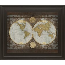 world map by elizabeth medley framed graphic art