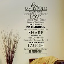 Classic Family Rules Wall Decal