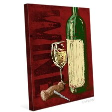 Artistic Wine Bottle And Corkscrew Painting Print on Wrapped Canvas