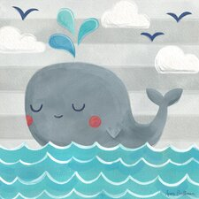 """Let's Set Sail Whale"" by Anne Bollman Canvas Art"