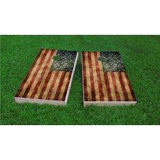 Worn American Flag Cornhole Game Set