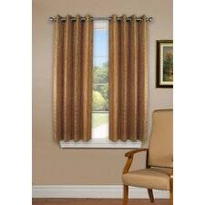 Bamboo Rayon Striped Semi-Sheer Grommet Single Curtain Panel