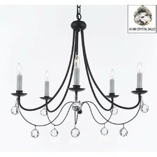 Clemence 5-Light Black Wrought Iron Candle-Style Chandelier