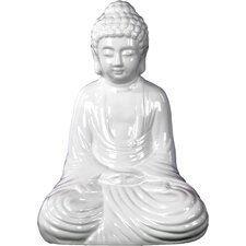 Ceramic Meditating Buddha in Dhyana Mudra Gloss White Figurine