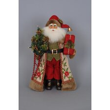 Christmas Lighted Woodland Embroidery Santa Figurine