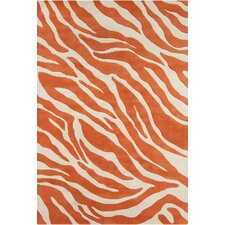 Stella Patterned Contemporary Wool Hand-Tufted Orange/White Area Rug