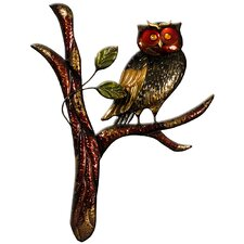 Owl on Branch Original Painting Plaque Wall Décor