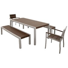 Surf City 5 Piece Bench Dining Set