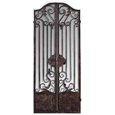 128cm x 104cm Mirror Mirror Iron 2 Panel Room Divider