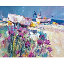 'Boats and Beach Blooms' by Chris Forsey Framed Wall art on Canvas
