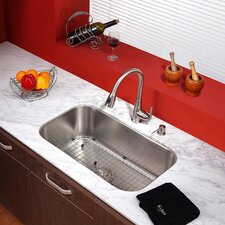 "Kitchen Combos 31.5"" x 18.38"" Undermount Kitchen Sink with Faucet and Soap Dispenser"