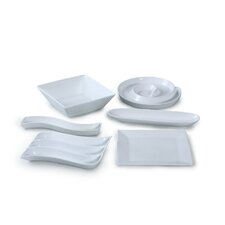 6 Piece Porcelain Serving Party Set in White