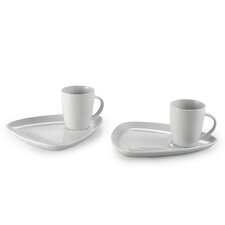 4 Piece Porcelain Mug and Snack Tray Set