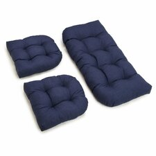 Outdoor Wicker Settee Cushion (Set of 3)