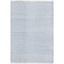 Herringbone Hand Woven Blue Area Rug