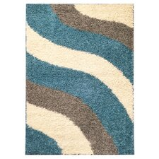 Burns Block Striped Waves Contemporary White/Turquoise Blue Shag Area Rug