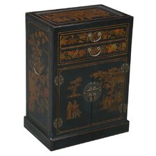 Handmade Oriental Antique 9 Bottle Floor Wine Cabinet