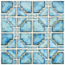 "Moonlight 2.85"" x 2.85"" Porcelain Mosaic Tile in Diva Blue"