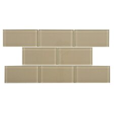 "Sierra 3"" x 6"" Glass Subway Tile in Sandstone"