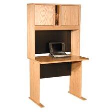 Modular Real Oak Wood Veneer Furniture Desk Shell with Hutch