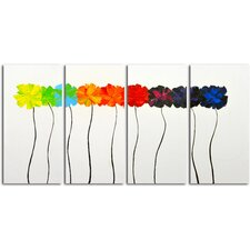 Colorful Arrangement 4 Piece Painting on Canvas Set