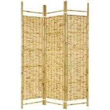 "72"" x 51"" Bamboo Tree Burnt Shoji 3 Panel Room Divider"
