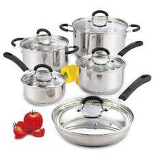 10 Piece Stainless Steel Cookware Set with Encapsulated Bottom