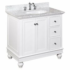 Quick View Dark Wood Bella 36 Single Bathroom Vanity Set White