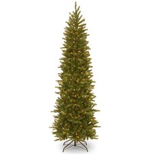 7.5' Green Fir Artificial Christmas Tree with 350 Incandescent Colored and Clear Lights with Stand