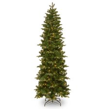 7.5' Green Artificial Christmas Tree with 350 Incandescent Clear Lights with Stand