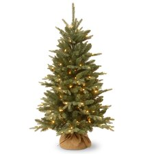 4' Green Artificial Christmas Tree with 150 Incandescent Colored and Clear Lights with Stand