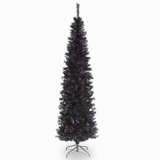 Tinsel Trees 6'  Black Tinsel Artificial Christmas Tree with Metal Stand