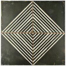 "Royalty 17.75"" x 17.75"" Ceramic Patterned/Field Tile in Matte Black/White"