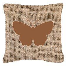 Butterfly Burlap Square Water Resistant Indoor/Outdoor Throw Pillow