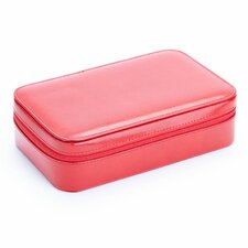 Genuine Leather Zippered Travel Jewelry Case