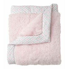Classic Collection Barely Pink Cuddle Plush Blanket with Printed Valboa Border