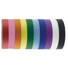 "1"" x 60 Yards Pack of Assorted Color Kraft Tape Rolls (Set of 12)"