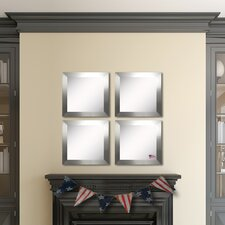 Ava Silver Wide Wall Mirror (Set of 4)